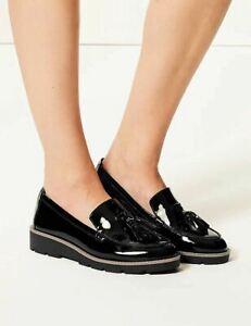Ex M&S Women's Wide Fit Leather Flatform Tassel Black UK 6 RRP £49.50 #6716W