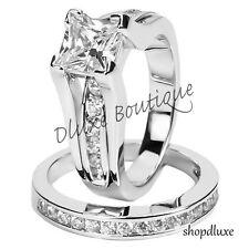 Para Mujer.925 plata esterlina de Corte Princesa CZ anillo de boda Tamaño Set 5,6,7,8,9,10