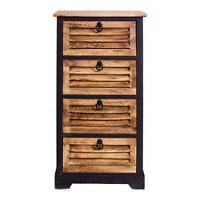 Mobili Rebecca chiffonnier table de nuit 4 tiroirs bois marron Noir 81x40x27