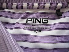 Men's Ping Performance Polyester Stripes Short Sleeve Golf Shirt Size M