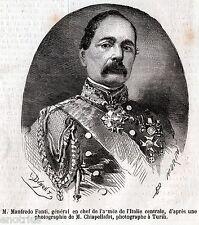 MANFREDO FANTI: Generale, Comandante Esercito Italia Centrale. Risorgimento.1860