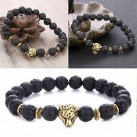 Herren Spot Natürliche Lava Stein Silber Buddha Perlen Charm Armband HOT
