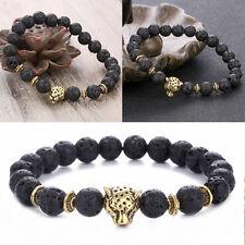 Herren Spot Natürliche Lava Stein Silber Buddha Perlen Charm-Armband