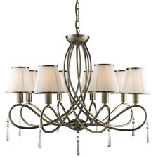 Searchlight 1038-8AB Simplicity Antique Brass 8 Light Fitting With Cream Shades