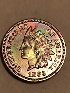 1882 Indian Head Penny High Grade With Liberty & Near 4 Diamonds US Coin