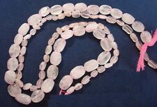 "Rose quartz hand cut oval shaped bead strand 15"" 30+ beads jewelry beads bs110"