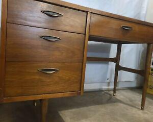 Mid-Century Modern | Writing Desk | Four Drawer | Vintage MCM Style + Walnut