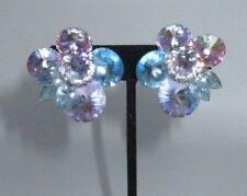 Large Crystal Clip On Earrings Aurora Borealis Multi-Tone Cluster Statement Blue