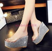 Womens Open Toe Platform Slippers Sandals Shoes Wedge Heel Transparent Sequins #