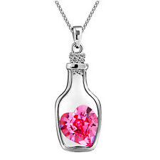 Hot Women Crystal Rhinestone Love Heart Drift Bottle Pendant Necklace Chain Gift