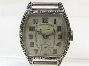 Vintage 1930 BULOVA SKY KING Men's WATCH 17J Art Deco 14k White GF PARTS/REPAIR