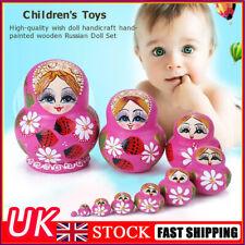 More details for 10pcs strawberry flower girl nesting dolls matryoshka russian doll set toys uk