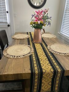 Handmade Handwoven Bohemian Embroidered Mexican Table Runner Camino de Mesa