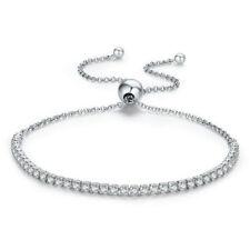 Sterling Silver Clear CZ Elastic Wedding Bridal Bracelet Bangle Wristband New