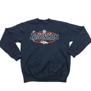VINTAGE Logo NFL Denver Broncos Sweater Size Medium Blue Pullover Embroider USA