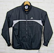 VTG Adidas All Weather Jacket Sz Medium Fits Large Black 3 Stripe Rain Soccer