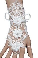 Cute Women White Lace Silk Tie Hand Glove Bracelet Wedding Jewelry Flower Bridal
