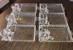 Vintage 12 Pc  Hazel Atlas Orchard Ribbed Glass  Snack Set Plates & Cups Ashtray