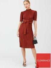 V by muy Plisse Tie Front Midi vestido de moda cuello alto óxido Talla 14 SS21 AW21
