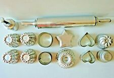 Vintage Aluminum Rolling Pin & Pastry Pans / Molds - Lot of 14