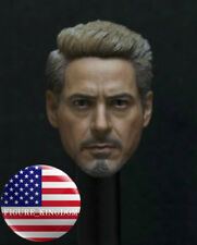 "1/6 Iron Man Robert Downey Tony Stark Head Sculpt For 12"" Hot Toys PHICEN Figure"