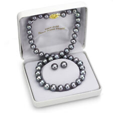 Pearl Necklace and Stud Earrings Set 14k Yellow Gold 8-9mm Grey Freshwater