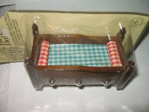 *NEW* Vintage Miniature Doll House Furniture: 1970s Wood BED with DRAWERS