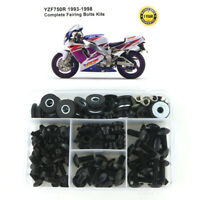 Steel Complete Fairing Bodywork Bolts Kit Fit For Yamaha YZF750R 1993-1998 Black