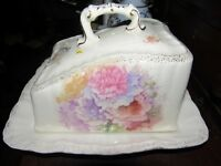 Antique Porcelain CHEESE DISH Keeper Dome AND PLATE.