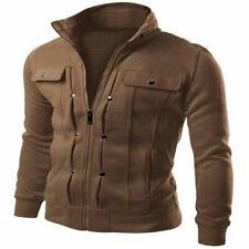 Men's Slim Stand Collar Coat Military Jacket Winter Outwear Tops brown #11