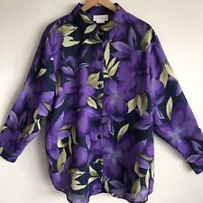 Susan Graver Blouse Top Sheer Purple & Floral Print Buttons Long Sleeve Size 1X