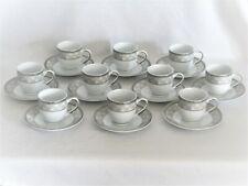 Casati Bavaria Set of 10 Porcelain Demitasse Cups & Saucers  White Platinum Gray