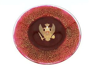 Antique Vintage Russian Imperial Eagle Dish Plate Charger Gold Paint Royalty Orb