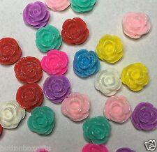 20 x 12mm resina Luccicante Rosa Fiore Piatto Indietro Cabochon assortiti Colori Consegna gratuita