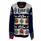 NEW Miller Lite Ugly Christmas Sweater Men's Large Gray Navy Blue Red Beer Xmas