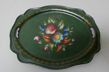 "ANTIQUE HAND PAINTED 13.5"" x 11"" TOLE TRAY, DARK GREEN with FLORAL DESIGN"
