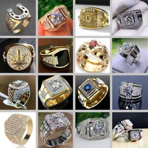 Luxury Mens Diamond Wedding Rings Heavy Gold Silver Party Ring Boys Gift Sz7-12