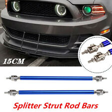 Adjustable Blue Front Bumper Lip Splitter Strut Rod Tie Support Bars Universal