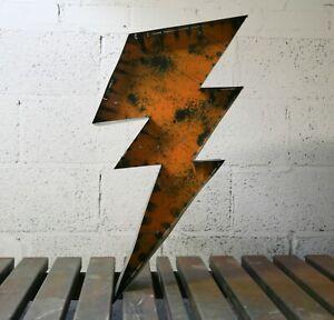 rustic metal letters, signs, handmade, heavy patina, steel, 3D, lightning bolt.