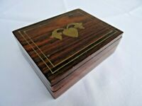 Vintage Playing Card Box Holder Rosewood Brass Banded Inlaid Heart Hinged