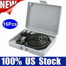 """16pc Hole Saw Drill Bit Kit Wood Plastic Sheet Metal 3/4"""" - 5"""" Circle Cutter NEW"""