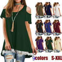 Womens Summer Long Sleeve Cold Shoulder Loose Tunic Top Shirt Blouse Plus Size