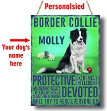 PERSONALISED Border Collie Dog Breed Plaque Sign gift ANY NAME wall door vintage