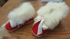 VTG Mrs Days Ideal Red White Christmas Crib Shoes Baby Infant Doll Size 1