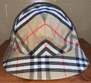 Burberrys London Kids Bucket Hat Nova Check Classic Pattern Beige EUC Authentic