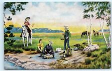*Lure of the West Cowboy Artist L.H. Dude Larsen Camping Vintage Postcard C58