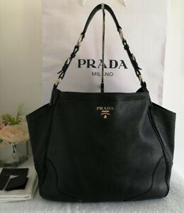 Prada Black Vitello Daino Pebbled Leather Hobo Bag Shoulder Bag RRP £1,850.00