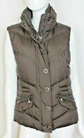 Esprit Women's Brown Quilted Puffer Vest - Size L - Logo Hardware
