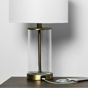 Modern Brass Fillable Transparent Glass Accent Table Lamp Base with USB Port