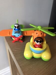 Tomy Kids Push Along Pull Back Wheels Helicopter And Plane